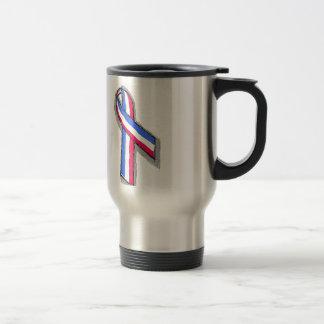 Red White and Blue Ribbon. Travel Mug