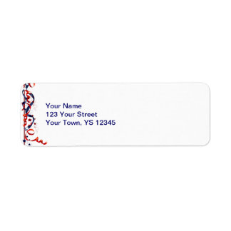 Red White and Blue Ribbons and Stars Return Address Label