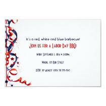 Red White and Blue Ribbons and Stars Labor Day Invitation