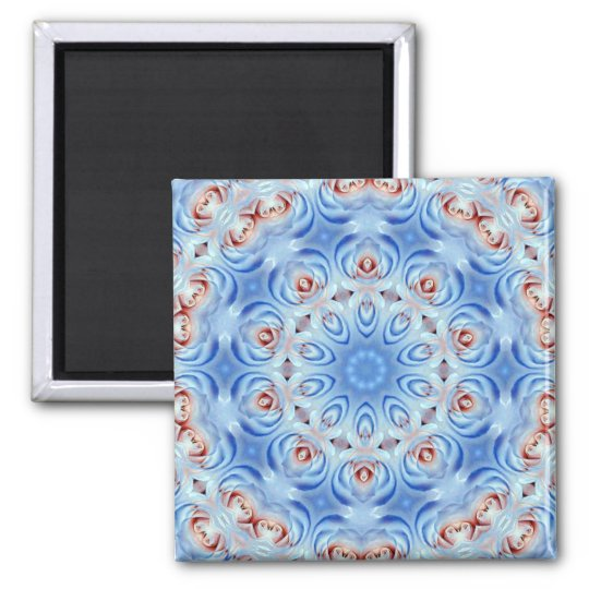 red white and blue roses abstract magnet