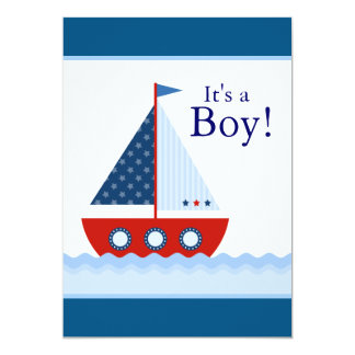Red White and Blue Sailboat Baby Boy Shower Card