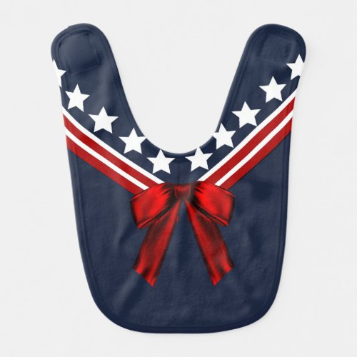 Red, White, and Blue Sailor Collar Baby Bib