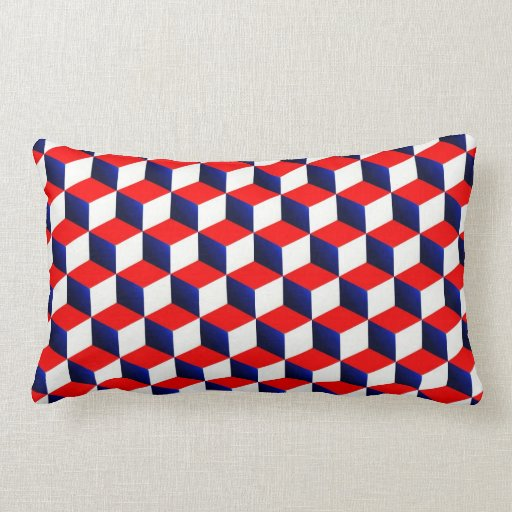 red white and blue shaded 3d look cubes pillows zazzle