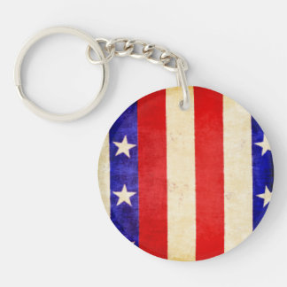 Red, White and Blue Single-Sided Round Acrylic Keychain