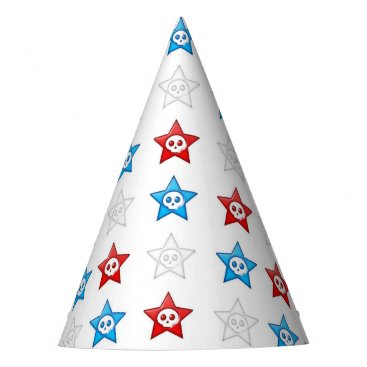 Halloween Themed red white and blue skull stars party hat