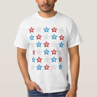 Red White and Blue Skull Stars T-shirt
