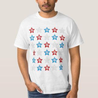 Red White and Blue Skull Stars T-shirt