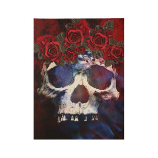 Red, White, and Blue Skull Wood Poster