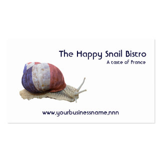 Red white and blue snail restaurant business card