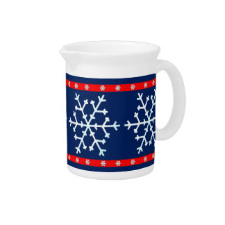Red White and Blue Snowflakes Drink Pitcher