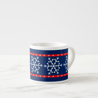 Red White and Blue Snowflakes Espresso Cup