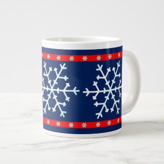 Red White and Blue Snowflakes Giant Coffee Mug