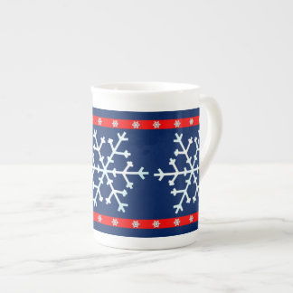 Red White and Blue Snowflakes Tea Cup