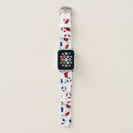 red white and blue soccer balls pattern apple watch band