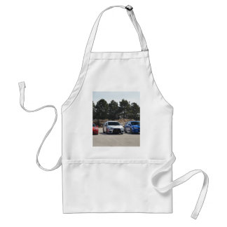 Red, white and blue sport cars adult apron