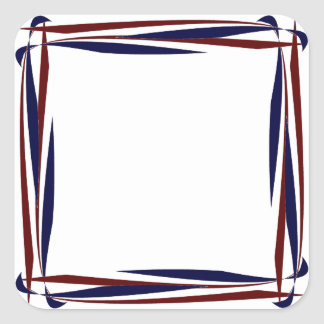 Red White and Blue Square Frame Sticker