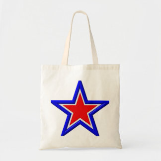 Red, white and blue stacked stars budget tote bag