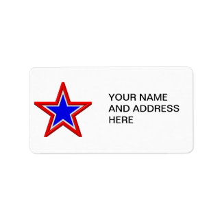 Red, white and blue stacked stars label