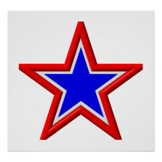Red, white and blue stacked stars poster