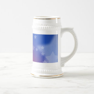 Red White and Blue Star Background Beer Stein