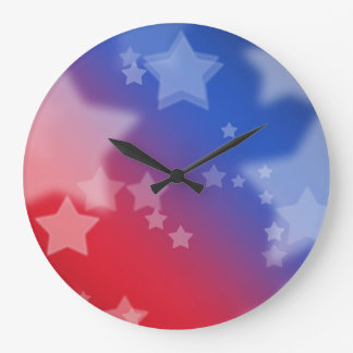 Red White and Blue Star Background Wallclock