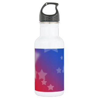 Red White and Blue Star Background Stainless Steel Water Bottle