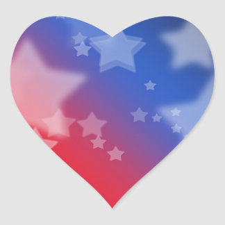 Red White and Blue Star Background Heart Stickers