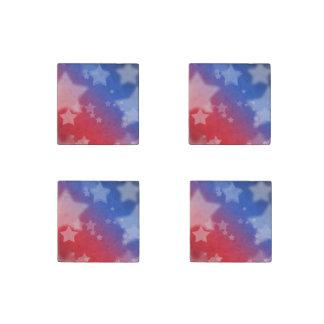 Red White and Blue Star Background Stone Magnet