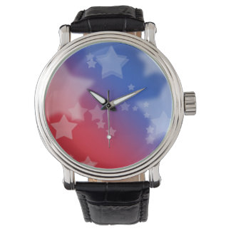 Red White and Blue Star Background Watches