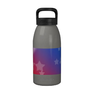 Red White and Blue Star Background Water Bottle