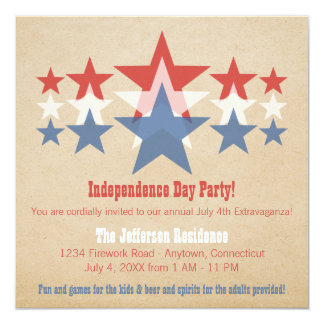 Red, White and Blue Star Cascade July 4th Invite