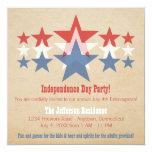 "Red, White and Blue Star Cascade July 4th Invite 5.25"" Square Invitation Card"