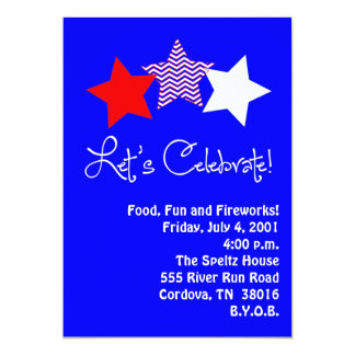 Red, White and Blue Star Invitation Custom Announcements