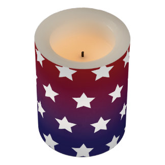 Red, White and Blue Star Pattern Flameless Candle