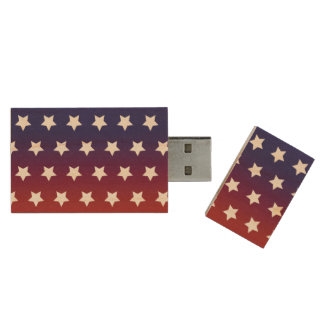 Red, White and Blue Star Pattern Wood Flash Drive