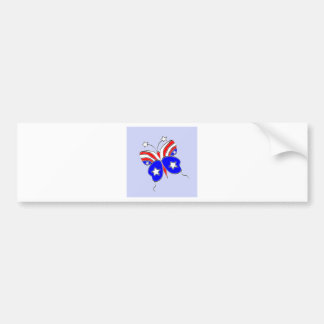 Red White and Blue Star Spangled Butterfly Bumper Sticker