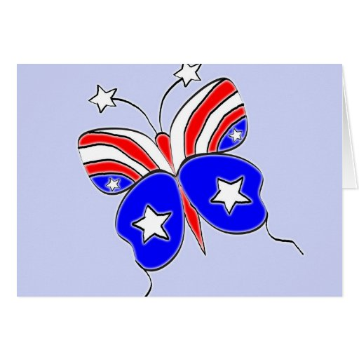 Red White and Blue Star Spangled Butterfly Greeting Card