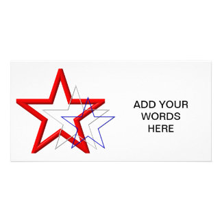 Red, white and blue star trails card