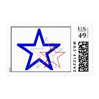 Red, white and blue star trails stamp