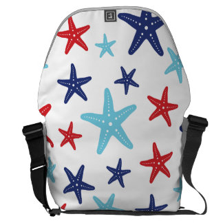 Red White and Blue Starfish Bag Courier Bags