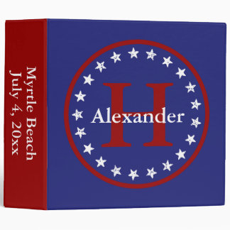 Red White and Blue Stars and Monogram Personalized 3 Ring Binder