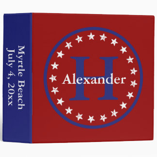 Red White and Blue Stars and Monogram Personalized Binder