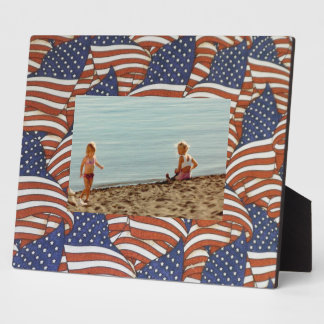 Red White and Blue Stars and Stripes American Flag Plaque