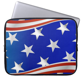 Red White and Blue Stars and Stripes Laptop Computer Sleeve