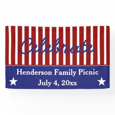 jozanehouse Red White and Blue Stars and Stripes Personalized Banner