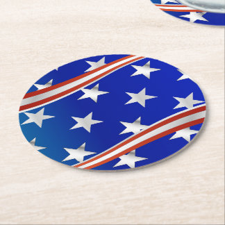 Red White and Blue Stars and Stripes Round Paper Coaster