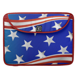 Red White and Blue Stars and Stripes Sleeve For MacBooks