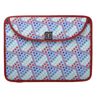 Red White and Blue Stars and Zigzag Stripe Pattern Sleeves For MacBooks