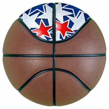 USA Themed Red white and blue stars basketball