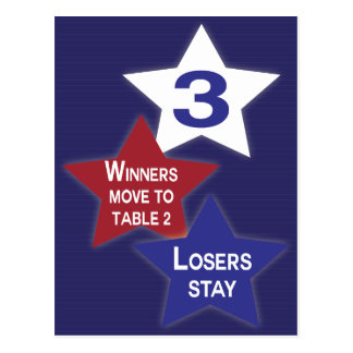 Red, White and Blue Stars Bunco Table Card #3
